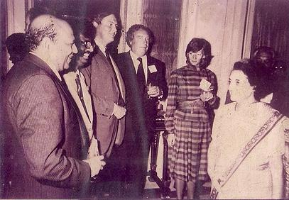 The Great Indira Gandhi at a official gathering accompanied by Founder Chief Golam Rasul Mallick of Eastern News Agency-ENA