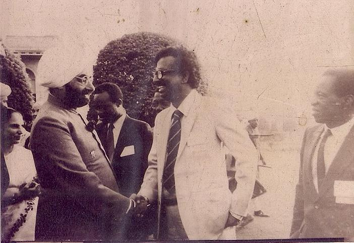 India President Zail Singh with ENA founder Chief Golam Rasul Mallick in official Delegation meeting