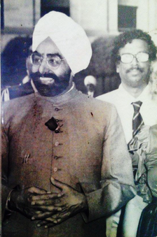 President Zail Singh of India at official gathering followed by Founder Chief Golam Rasul Mallick of Eastern News Agency-ENA