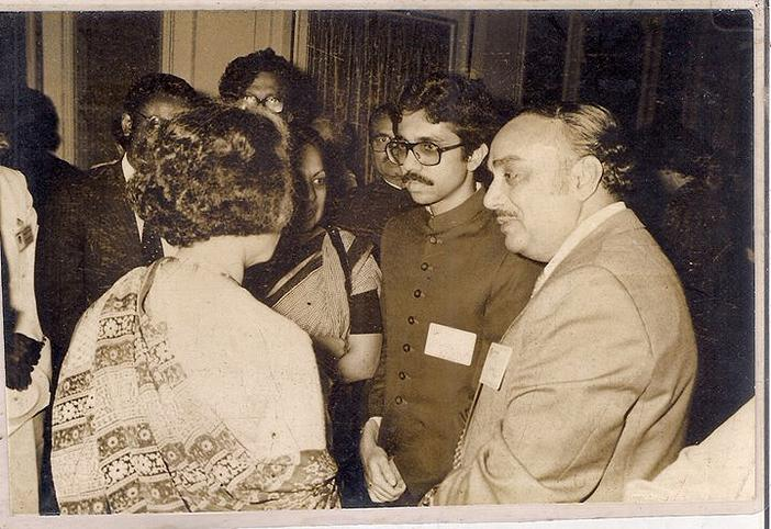 Great Indira Gandhi of India on a official gathering with ENA Founder Chief Golam Rasul Mallick