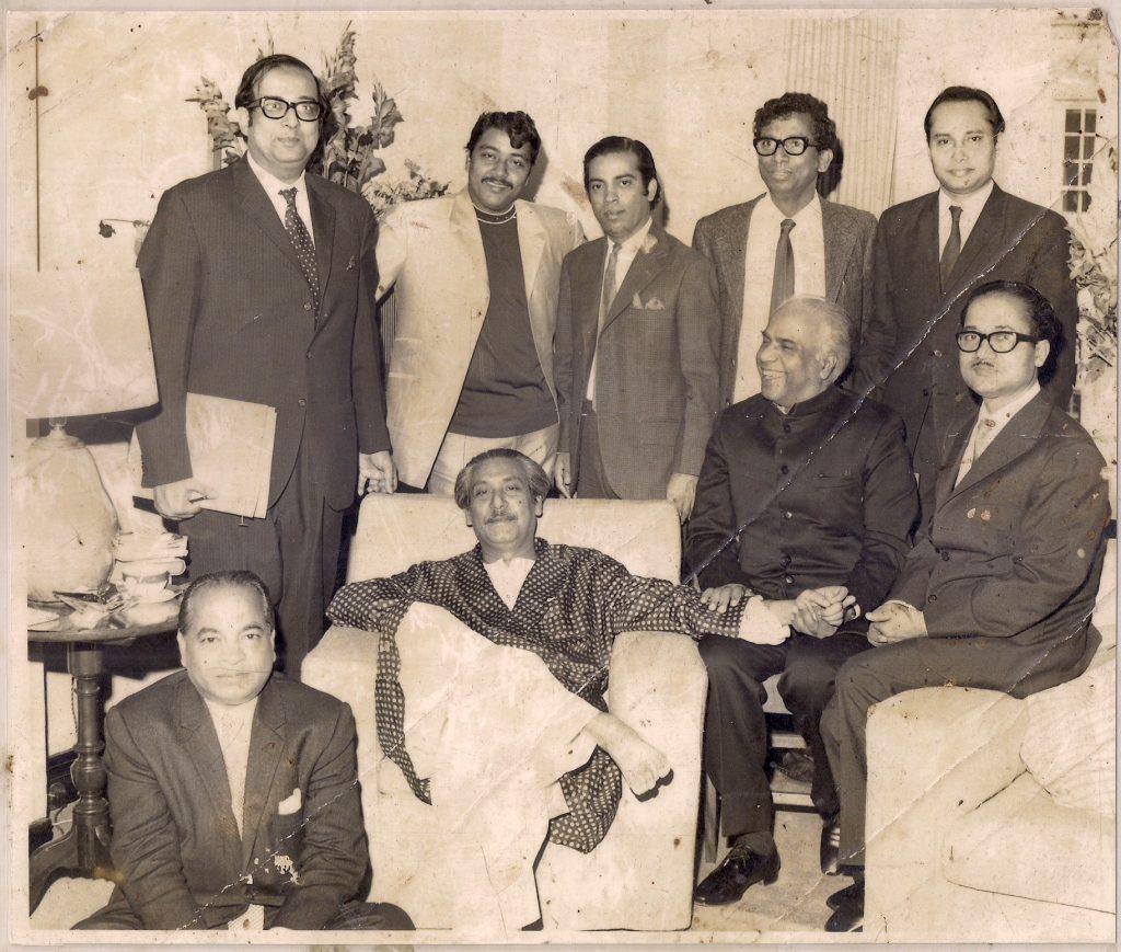 Bangabandhu Sheikh Mujibur Rahman with fellow patrons accompanied by Founder Chief Golam Rasul Mallick of Eastern News Agency-ENA