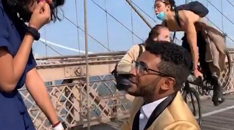 Brooklyn Bridge Marriage Proposal Crashed by Cyclist