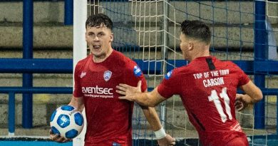 Ben Doherty celebrates netting an injury-time penalty to level for Coleraine
