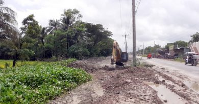 Four-lane highway construction destroying canal used for irrigation