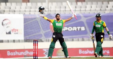 Shanto's fiery ton with record sixes