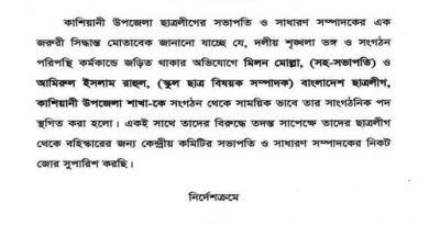 2 Gopalganj BCL leader suspended over Bangabandhu sculpture remarks – Countryside – observerbd.com