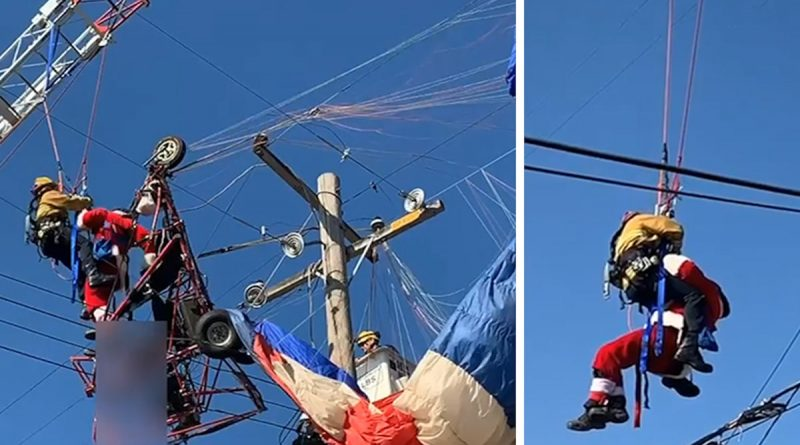Santa Claus Rescued by Firefighters After Getting Stuck in Power Lines
