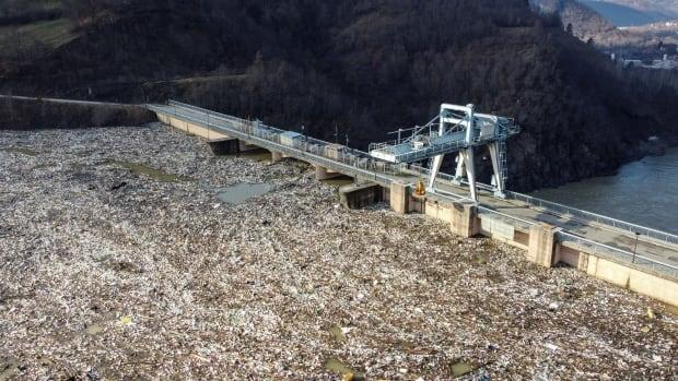 Plastic garbage clogging Serbian dam threatens hydroelectric plant